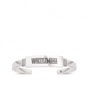 WrestleMania 35 Bixler Ribbed Cuff Bracelet in Sterling Silver