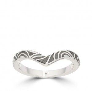 Charlotte Flair Bixler Milgrain Stackable Ring in Sterling Silver