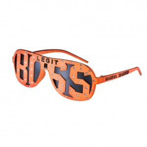 "Sasha Banks ""Legit Boss"" Studded Orange Sunglasses"