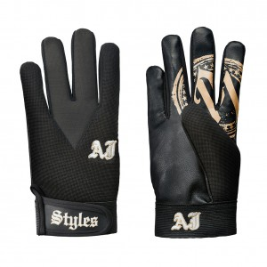 AJ Styles Black/Gold Replica Gloves