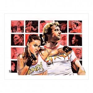 Ronda Rousey & Roddy Piper 11 x 14 Rob Schamberger Art Print