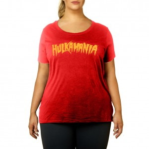 "Hulk Hogan ""Hulkamania"" Red Women's Curvy T-Shirt"