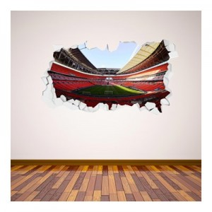 England Stadium Broken Wall Sticker 90x50cm