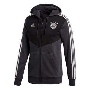 FC Bayern 3 Stripe Full Zip Hoody - Black