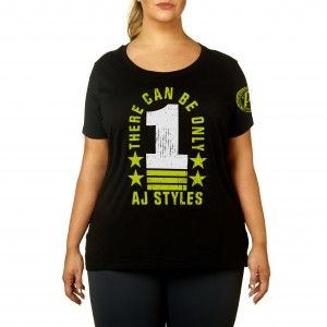 "AJ Styles ""There Can Be Only 1"" Women's Curvy T-Shirt"
