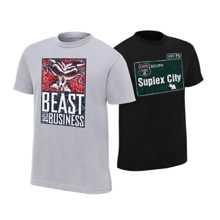 "Brock Lesnar & Paul Heyman ""Beast For Business/Suplex City"" Authentic T-Shirt Package"