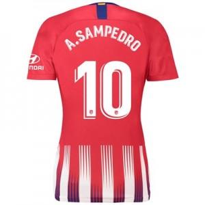Atlético de Madrid Home Stadium Shirt 2018-19 - Womens with A. Sampedro 10 printing