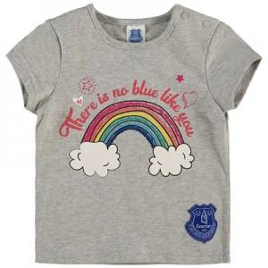 Everton Baby Glitter T Shirt - Grey Marl - Girls