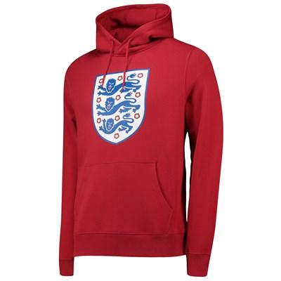 England Large Printed Crest Hoodie - G Red - Mens