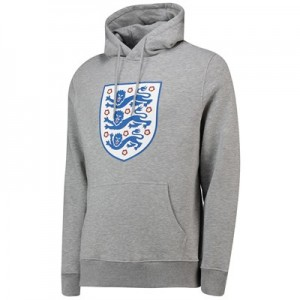 England Large Printed Crest Hoodie - Grey Marl - Mens