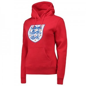 England Large Printed Crest Hoodie - Red - Womens