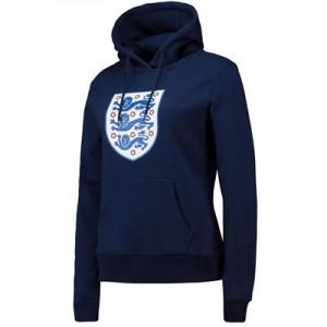 England Large Printed Crest Hoodie - Navy - Womens