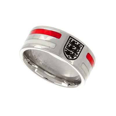 England Stainless Steel Colour Stripe Crest Band Ring