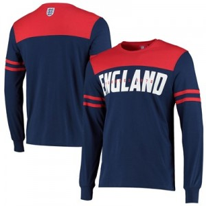 England Cut & Sew Long Sleeve T Shirt - Navy - Mens