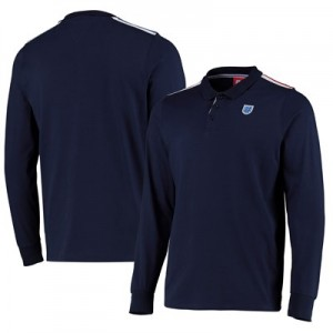 England England FA Long Sleeve Polo -Navy - Mens