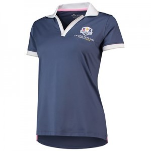 The 2018 Ryder Cup Peter Millar Drop-V Knit Collar Tipped Polo - Womens - Summer Navy