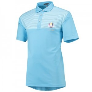The 2018 Ryder Cup Peter Millar Oberlin Engineered Stripe Stretch Jersey Polo - Grotto Blue
