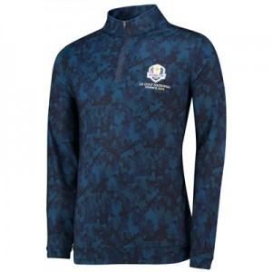 The 2018 Ryder Cup Peter Millar Pertch Stretch Loop Terry Camouflage Quarter-Zip - Yankee Blue