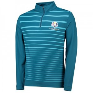 The 2018 Ryder Cup Peter Millar Perth Stretch Loop Terry Engineered Stripe Quarter-Zip - Maui