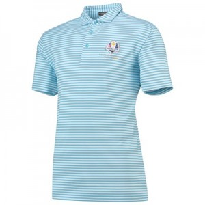 The 2018 Ryder Cup Peter Millar Tygra Stripe Stretch Mesh Polo - Grotto Blue/White