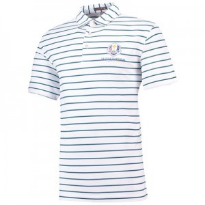 The 2018 Ryder Cup Peter Millar Scattered Stripe Stretch Mesh Polo - White