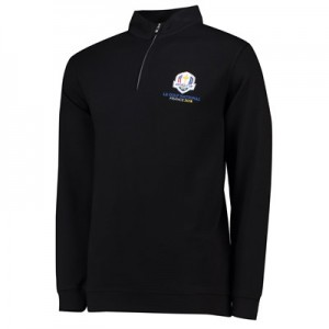 The 2018 Ryder Cup Peter Millar Crown Comfort 1/4 Zip Interlock - Black