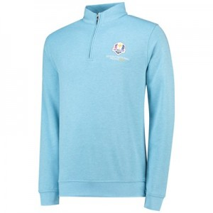 The 2018 Ryder Cup Peter Millar Crown Comfort 1/4 Zip Interlock - Grotto Blue
