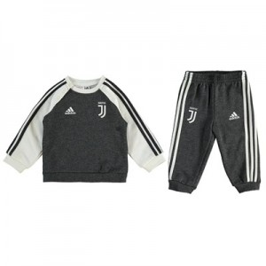 Juventus 3 Stripe Baby Jersey Set - Grey