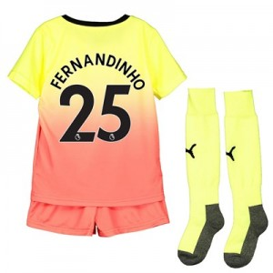 Manchester City Third Mini Kit 2019-20 with Fernandinho 25 printing