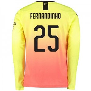 Manchester City Cup Third Shirt 2019-20 - Long Sleeve with Fernandinho 25 printing