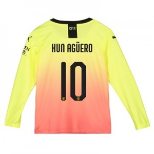 Manchester City Cup Third Shirt 2019-20 - Long Sleeve - Kids with Kun Agüero  10 printing