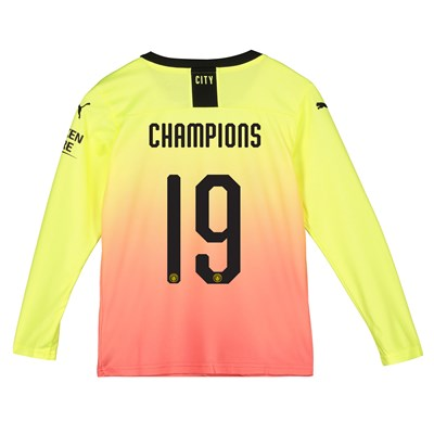 Manchester City Cup Third Shirt 2019-20 - Long Sleeve - Kids with Champions 19 printing