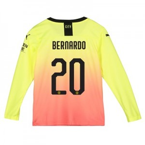 Manchester City Cup Third Shirt 2019-20 - Long Sleeve - Kids with Bernardo 20 printing