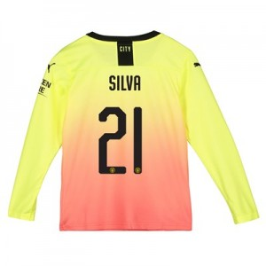 Manchester City Cup Third Shirt 2019-20 - Long Sleeve - Kids with Silva 21 printing