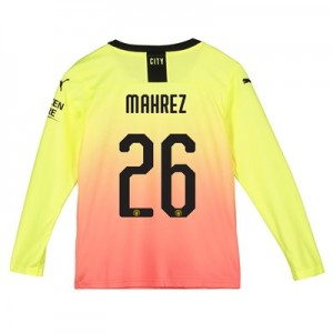 Manchester City Cup Third Shirt 2019-20 - Long Sleeve - Kids with Mahrez 26 printing