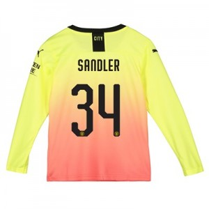 Manchester City Cup Third Shirt 2019-20 - Long Sleeve - Kids with Sandler 34 printing