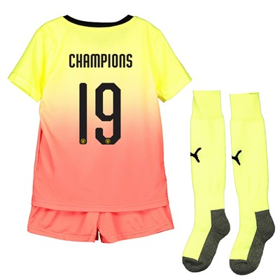 Manchester City Cup Third Mini Kit 2019-20 with Champions 19 printing
