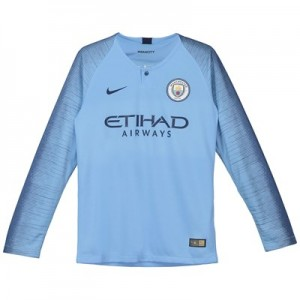 Manchester City Home Stadium Shirt 2018-19 - Long Sleeve - Kids