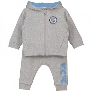 Manchester City Baby Jogsuit - Grey Marl -Boy