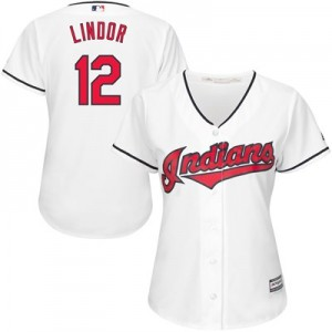 Cleveland Indians Francisco Lindor Majestic Home Cool Base Replica Player Jersey - Womens
