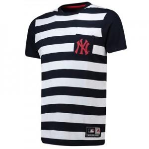 New York Yankees Stripe Pocket T-Shirt - Silver Marl - Mens