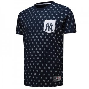 New York Yankees All Over Print T-Shirt - Navy - Mens