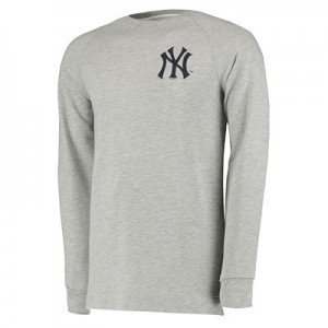 New York Yankees Raglan Logo Crew - Grey - Mens