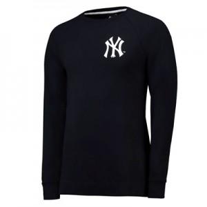 New York Yankees Raglan Logo Crew - Black - Mens