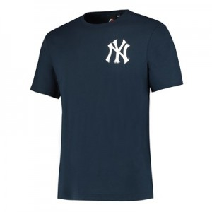 New York Yankees Logo Longline T-Shirt - Navy - Mens