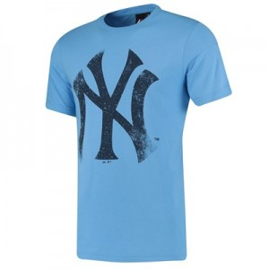 New York Yankees Large Logo T-Shirt - Light Blue - Mens