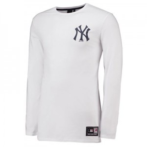 New York Yankees LS Longline T-Shirt - White - Mens
