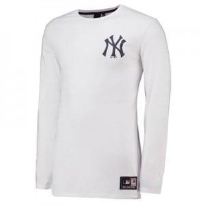 New York Yankees LS Longline T-Shirt - White - Mens
