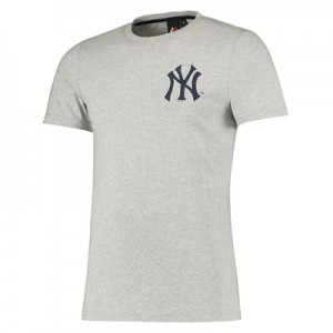 New York Yankees Muscle Fit Longline T-Shirt - Grey - Mens