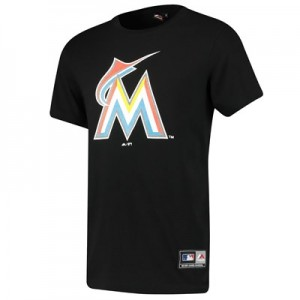 Miami Marlins Prism T-Shirt - Black - Mens